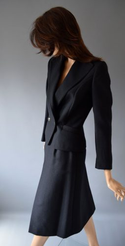Mansfield | 1970s Black Single Breasted Pleat Skirt Suit | UK 8-10