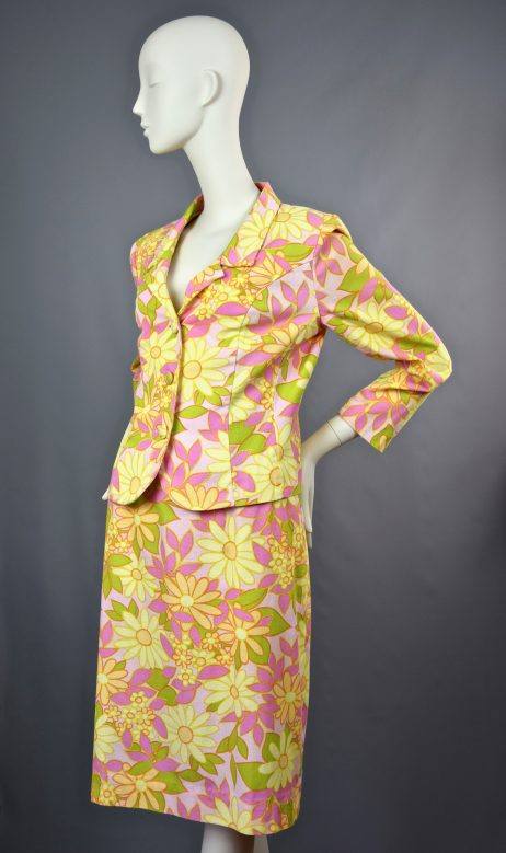 Global Inspiration Paris | 1960s Flower Power Pencil Skirt and Jacket | UK 10/12