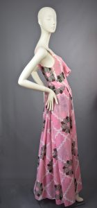Susan Small | Late 1960s Blush Pink Floral Print Maxi Dress | UK 12