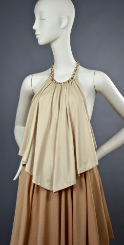 Anne Tyrrell for John Marks | Caramel Handkerchief Tiered Halter Maxi Gown | UK 10