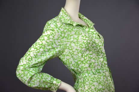 California | 1970s Apple Green Floral Print Light Cotton Shirt Dress | UK 12