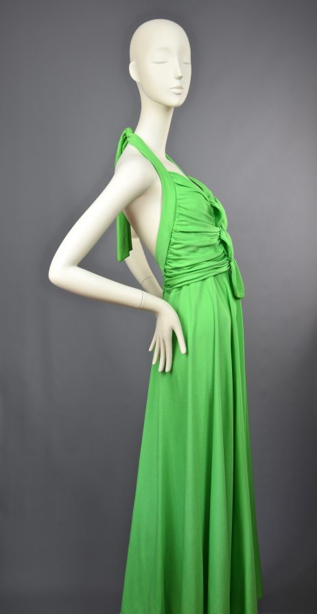 Anne Tyrrell for John Marks | Rare Caribbean Green Peek a Boo Maxi Gown | UK 10