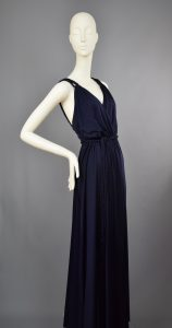 Anne Tyrrell for John Marks   Spring 1977 Collection Grecian Midnight Blue Wrap Maxi Gown   UK 8-10.
