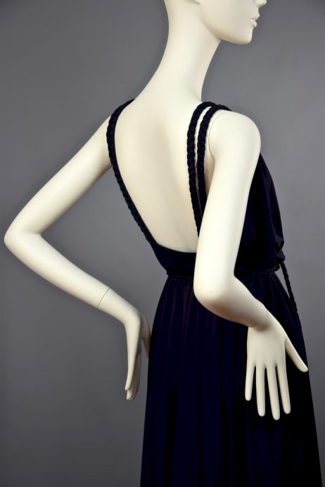 Anne Tyrrell for John Marks | Spring 1977 Collection Grecian Midnight Blue Wrap Maxi Gown | UK 8-10.