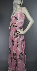 1960s Pink Print Gown
