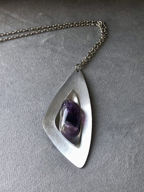 steel and amethyst necklace