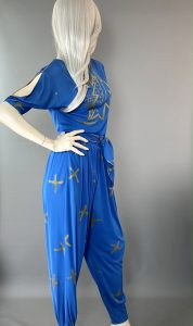 Side View - Anne Tyrrell Blue Pant Suit