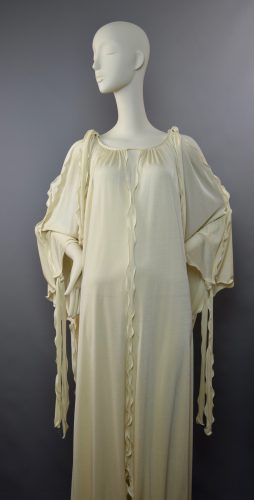 1970s John Marks by Anne Tyrrell Ivory Grecian Peek-a-Boo Dress