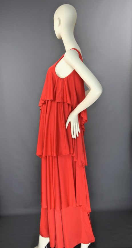John Marks at Anne Tyrrell Red Single Strap Tiered Maxi Dress